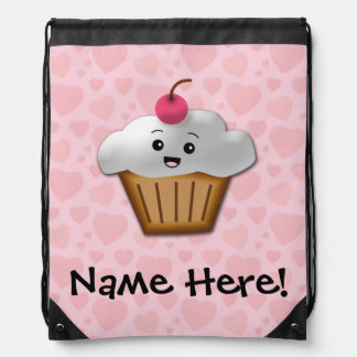 Cute Pink Kawaii Happy Face Cupcake Girls Drawstring Bag