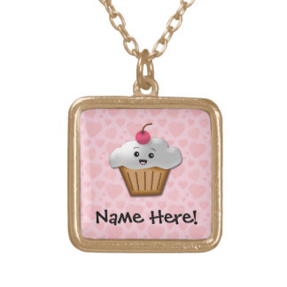 Cute Pink Kawaii Happy Face Cupcake Girls Gold Plated Necklace