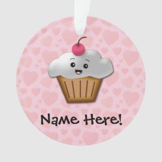 Cute Pink Kawaii Happy Face Cupcake Girls Ornament