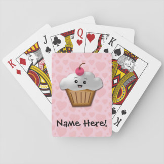 Cute Pink Kawaii Happy Face Cupcake Girls Playing Cards