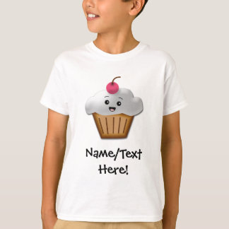Cute Pink Kawaii Happy Face Cupcake Girls T-Shirt