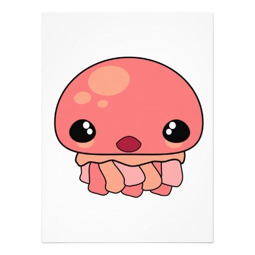 Cute Pink Kawaii Jellyfish Character Invitations