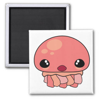 Cute Pink Kawaii Jellyfish Character Square Magnet