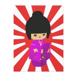 Cute Pink  Kawaii Kokeshi Doll on rising sun Stretched Canvas Prints