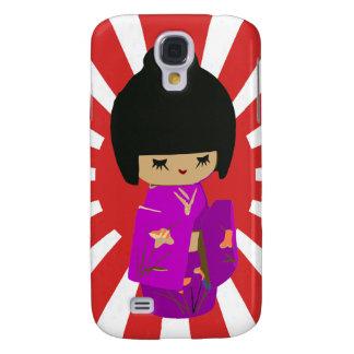 Cute Pink  Kawaii Kokeshi Doll on rising sun Galaxy S4 Case