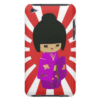 Cute Pink  Kawaii Kokeshi Doll on rising sun Barely There iPod Cases