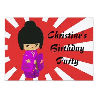 Cute Pink  Kawaii Kokeshi Doll on rising sun 5x7 Paper Invitation Card