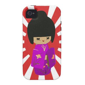 Cute Pink  Kawaii Kokeshi Doll on rising sun iPhone 4/4S Cases