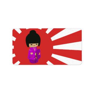 Cute Pink  Kawaii Kokeshi Doll on rising sun Address Label