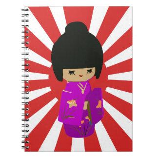 Cute Pink  Kawaii Kokeshi Doll on rising sun Note Book