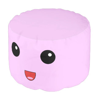 Cute Pink Kawaii Marshmallow Round Pouf