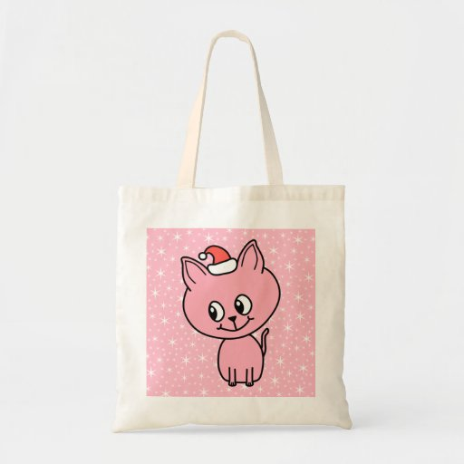 Cute Pink Kitten in a Christmas Hat. Bag