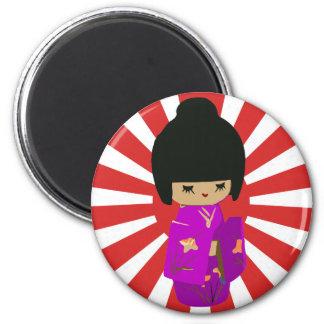 Cute Pink  Kokeshi Doll on rising sun 6 Cm Round Magnet