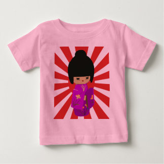 Cute Pink  Kokeshi Doll on rising sun Baby T-Shirt