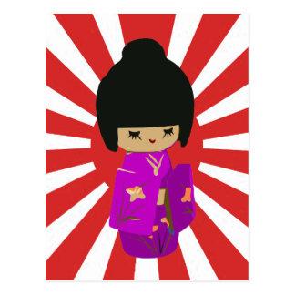 Cute Pink  Kokeshi Doll on rising sun Postcard