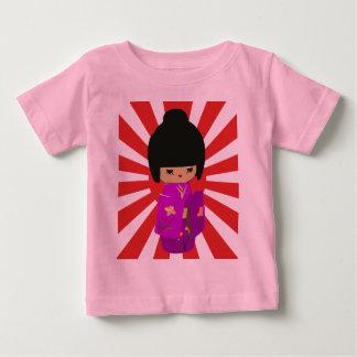 Cute Pink  Kokeshi Doll on rising sun Tees