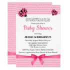 Cute Pink Ladybug Baby Shower Invitations