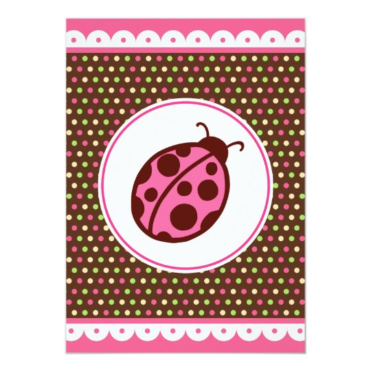 Cute Pink Ladybug Party Invitations