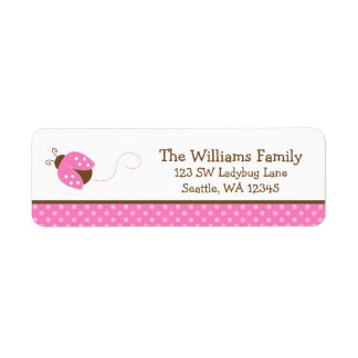 Cute Pink Ladybug Polka Dot Return Address Label