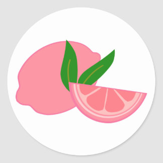 Cute Pink Lemon Classic Round Sticker