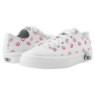 Cute Pink Lipstick Patter on Shoes Printed Shoes
