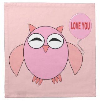 Cute Pink Love You Owl Party Napkins