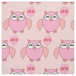 Cute Pink Love You Owl Patterned Craft Fabric