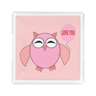Cute Pink Love You Owl Perfume Tray