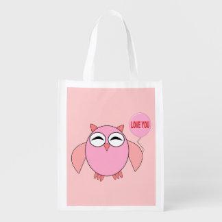 Cute Pink Love You Owl Reusable Bag