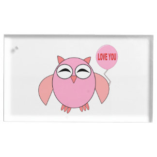Cute Pink Love You Owl Table Card Holder
