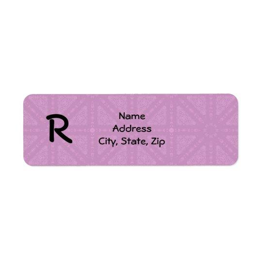 Cute pink mediaeval kaleidoscope monogram return address label