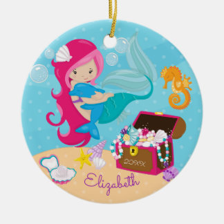 Cute Pink Mermaid & Dolphin Christmas Ornament