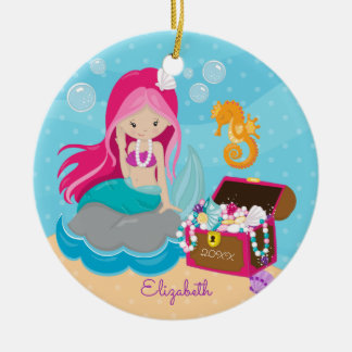 Cute Pink Mermaid Personalized Christmas Ornament