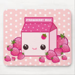 Cute pink milk carton with kawaii strawberries mouse pads