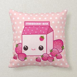 Cute pink milk carton with kawaii strawberries throw cushions