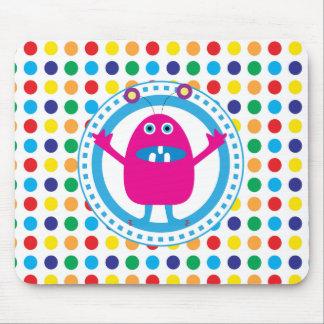 Cute Pink Monster on Polka Dots Mousepad