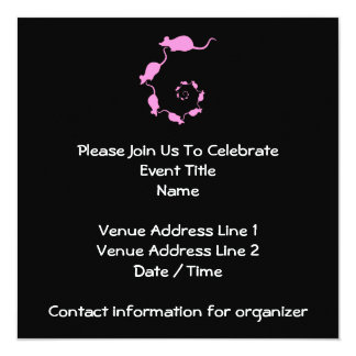 Cute Pink Mouse Design. Spiral of Mice. 13 Cm X 13 Cm Square Invitation Card