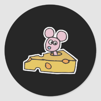 cute pink mouse in swiss cheese round sticker
