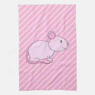 Cute Pink Mouse. Tea Towel