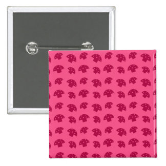 Cute pink mushroom pattern 15 cm square badge