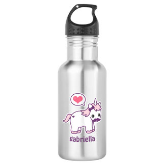 Cute Pink Mustache Unicorn 532 Ml Water Bottle