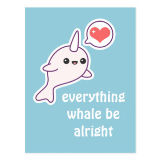 Cute Pink Narwhal Postcard