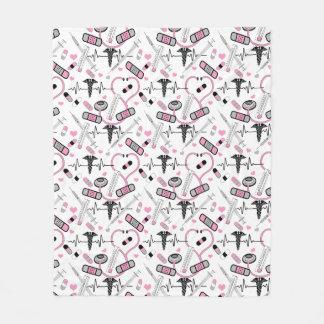 Cute Pink Nurse | Doctor EKG Stethoscope Pattern Fleece Blanket