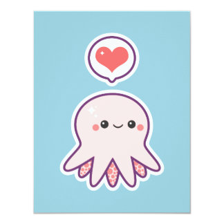 Cute Pink Octopus Birthday Party Invitations