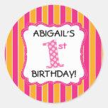Cute Pink/Orange Girls First Birthday Round Stickers