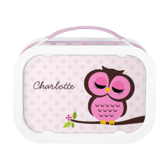 Cute Pink Owl and Polka Dots Personalized Lunch Box