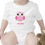 Cute pink owl animal cartoon personalised baby tees