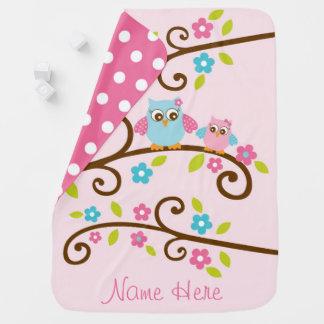 Cute Pink Owl Baby Blanket