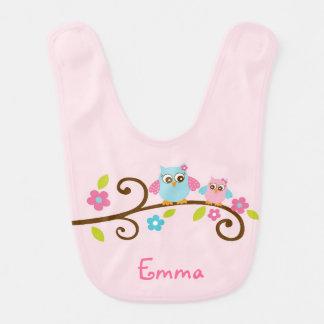 Cute Pink Owl Baby Shower Bib