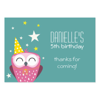Cute Pink Owl Birthday Thank You Party Favors Pack Of Chubby Business Cards